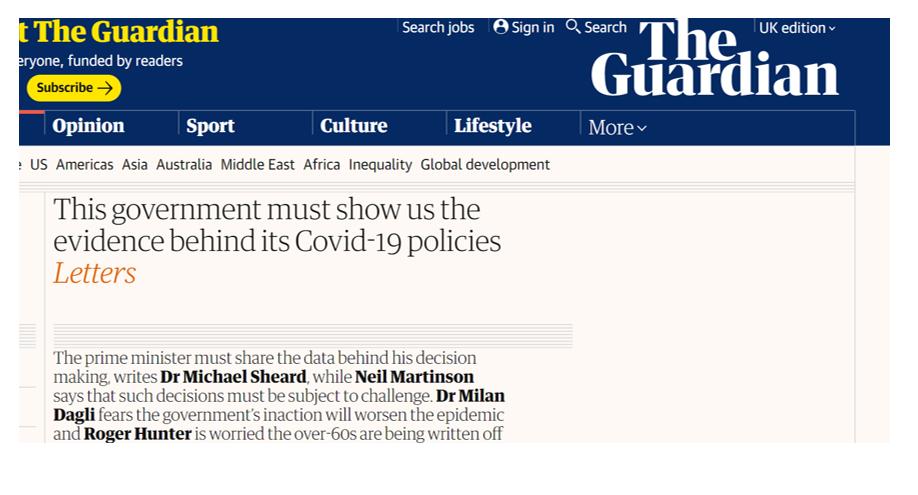 A screenshot of a Guardian paper