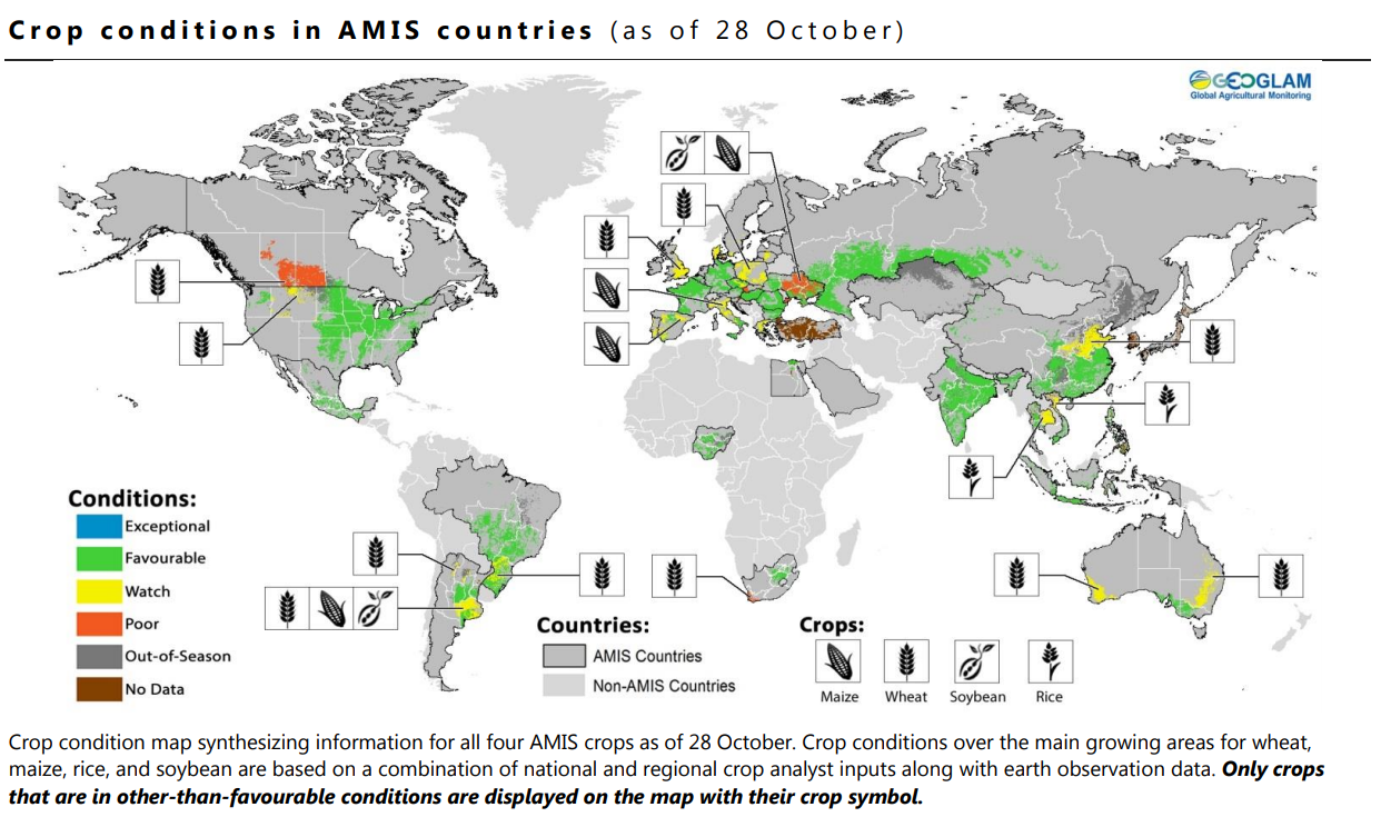 Map of crop conditions in AMIS countries