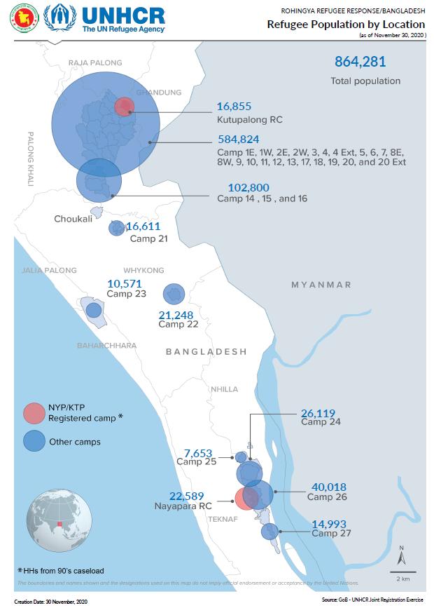 A UNHCR population map