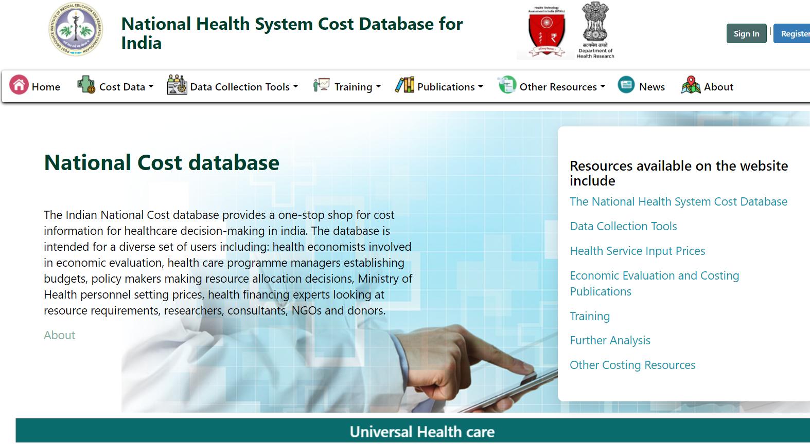 A screenshot of a health costing database