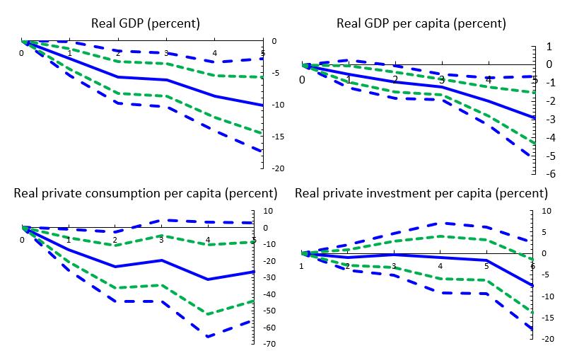 Figure 3. Impact of terror shocks on macroeconomic aggregates