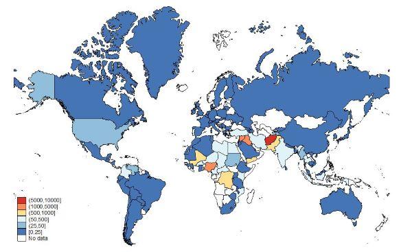 Figure 1. Fatalities due to terrorism across the world, 2018