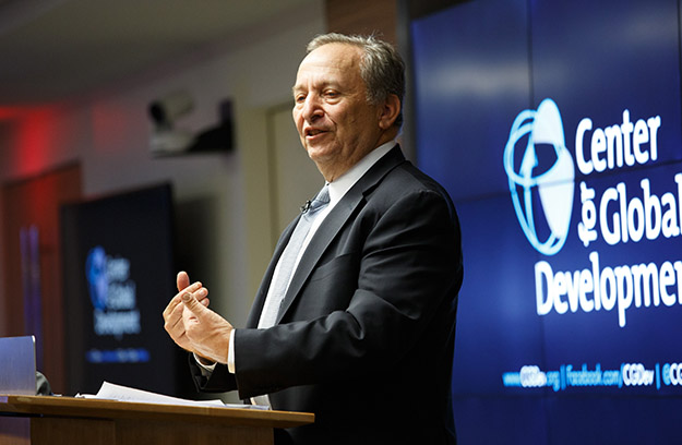 Lawrence H Summers gives a speech.