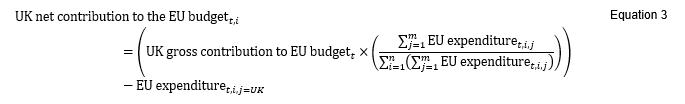 An equation of UK net contribution to EU budget