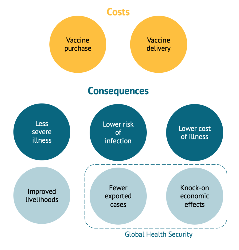 A chart showing the summary of costs and consequences of COVID-19 vaccine HTA