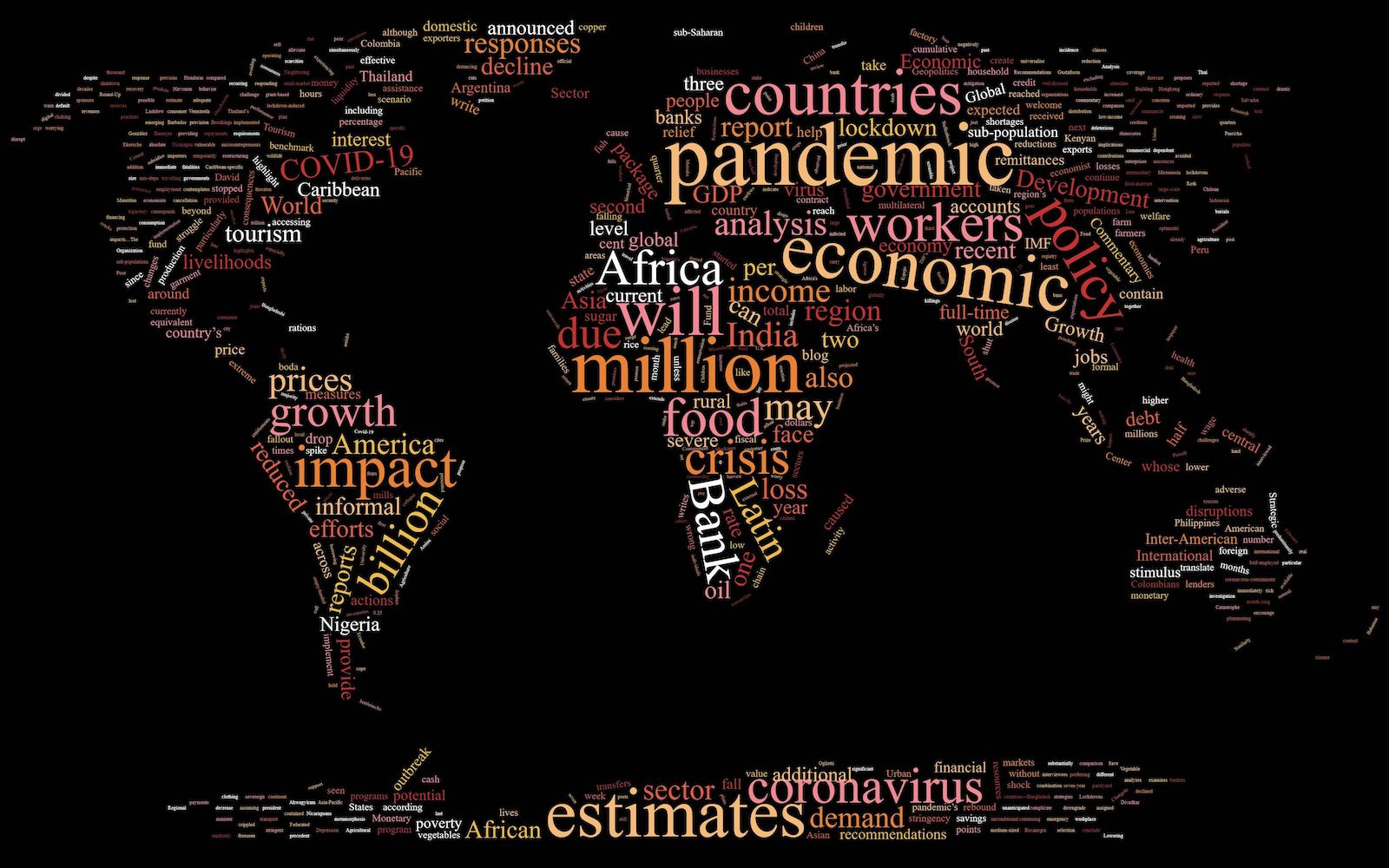 A word cloud of the most common words in the articles below, shaped like the world