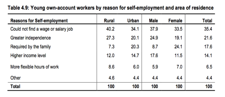 A table of the reasons young workers give for self-employment, divided by urban/rural and male/female