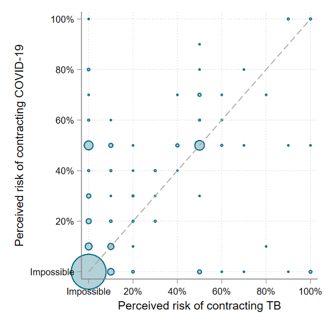 Chart of perceived risk of contracting TB vs. perceived risk of contracting COVID. By far the biggest bubble is at 0% likelihood for both.