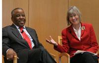 Botswana President Festus Gontebanye Mogae and CGD president Nancy Birdsall