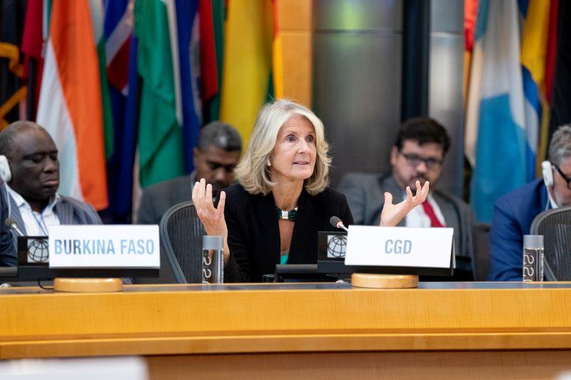 Barbara Bruns speaks at the World Bank