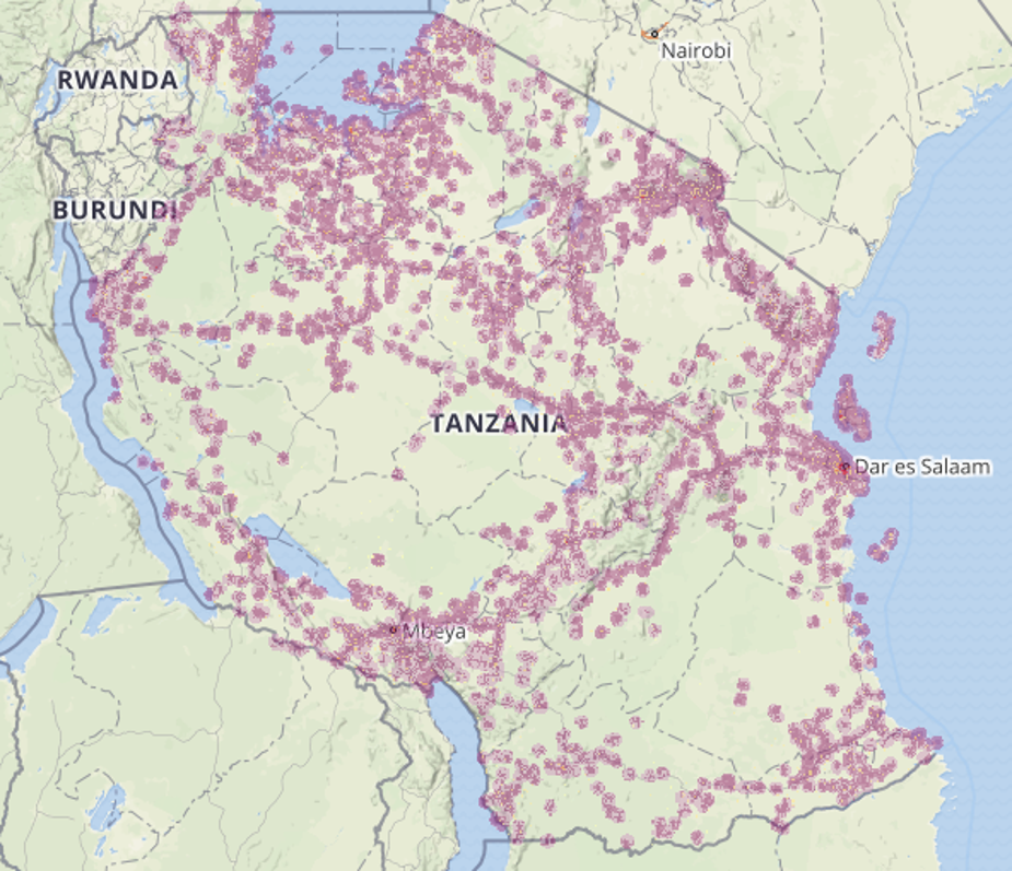 Mobile phone reception coverage map of Tanzania.