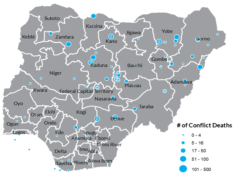 A map of Nigerian conflict deaths in 2012 by state