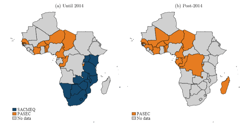 Map showing the changing coverage of SACMEQ and PASEC across Africa before and after 2014