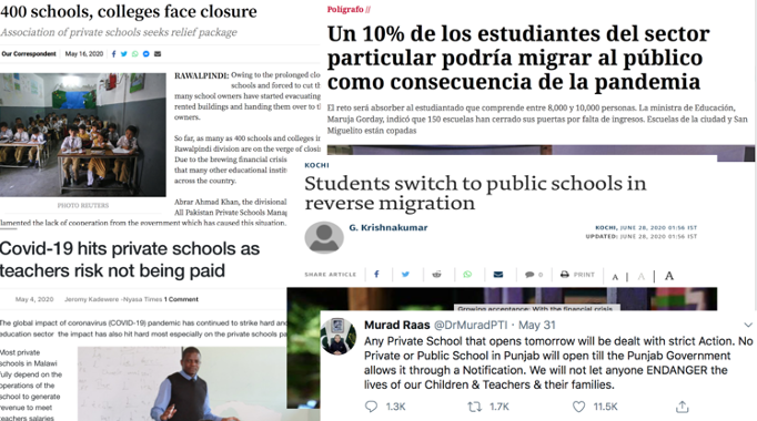 Collage of headlines about the economic impacts of the pandemic on private schools