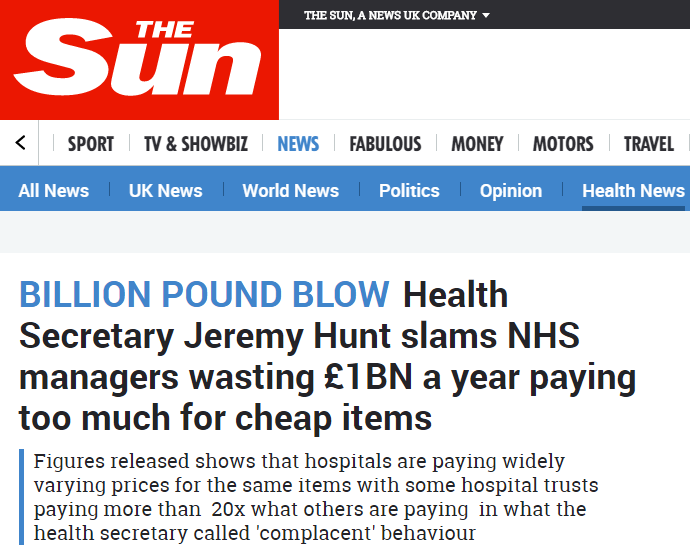 Screenshot of a headline in the Sun about NHS purchasing