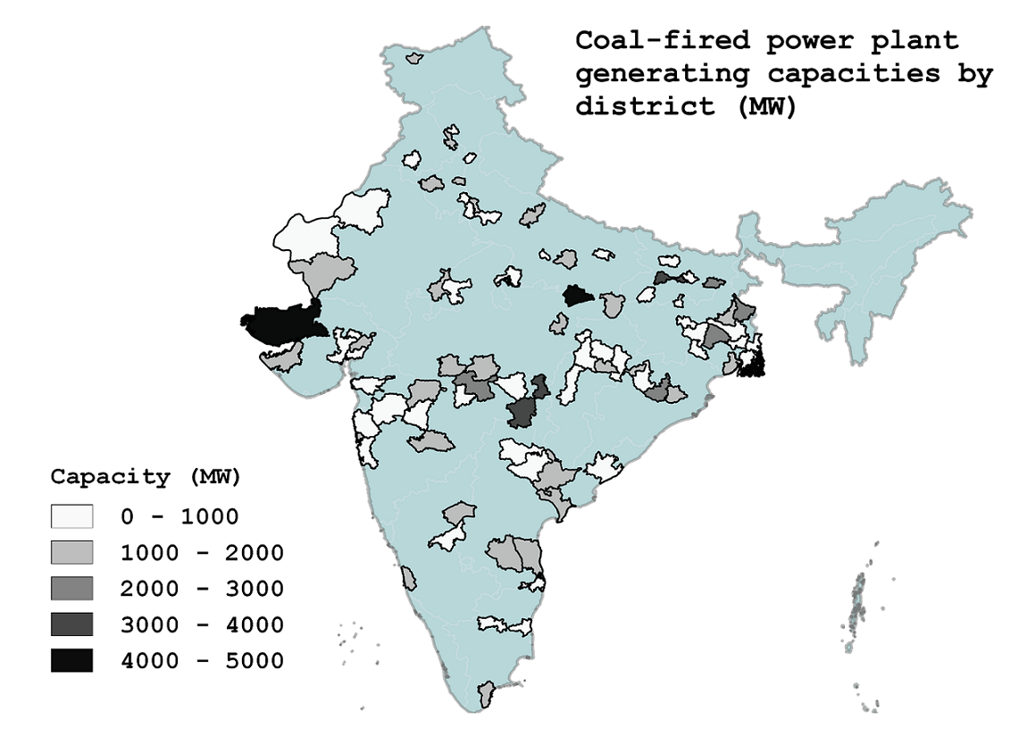 Density of coal-fired power plant generating capacities by district