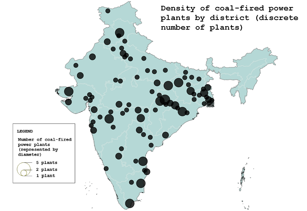 Density of coal-fired power plants by district