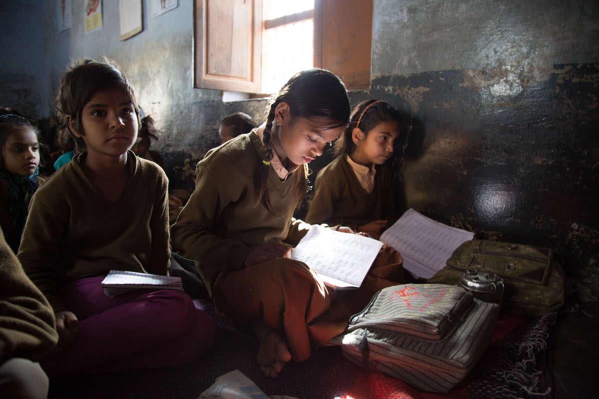 Girls at a school in India served by Educate Girls, before the pandemic and lockdown started. Photo by Educate Girls