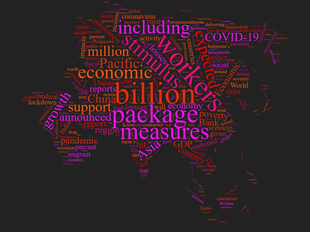A word cloud of the most common words in the articles below, shaped like Asia and the Pacific.