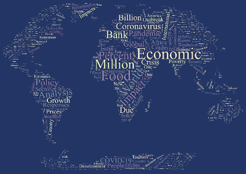 A word cloud of the most common words in the linked articles, shaped like the world.