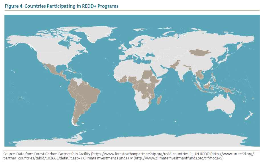 Figure 4 Countries Participating in REDD+ Programs