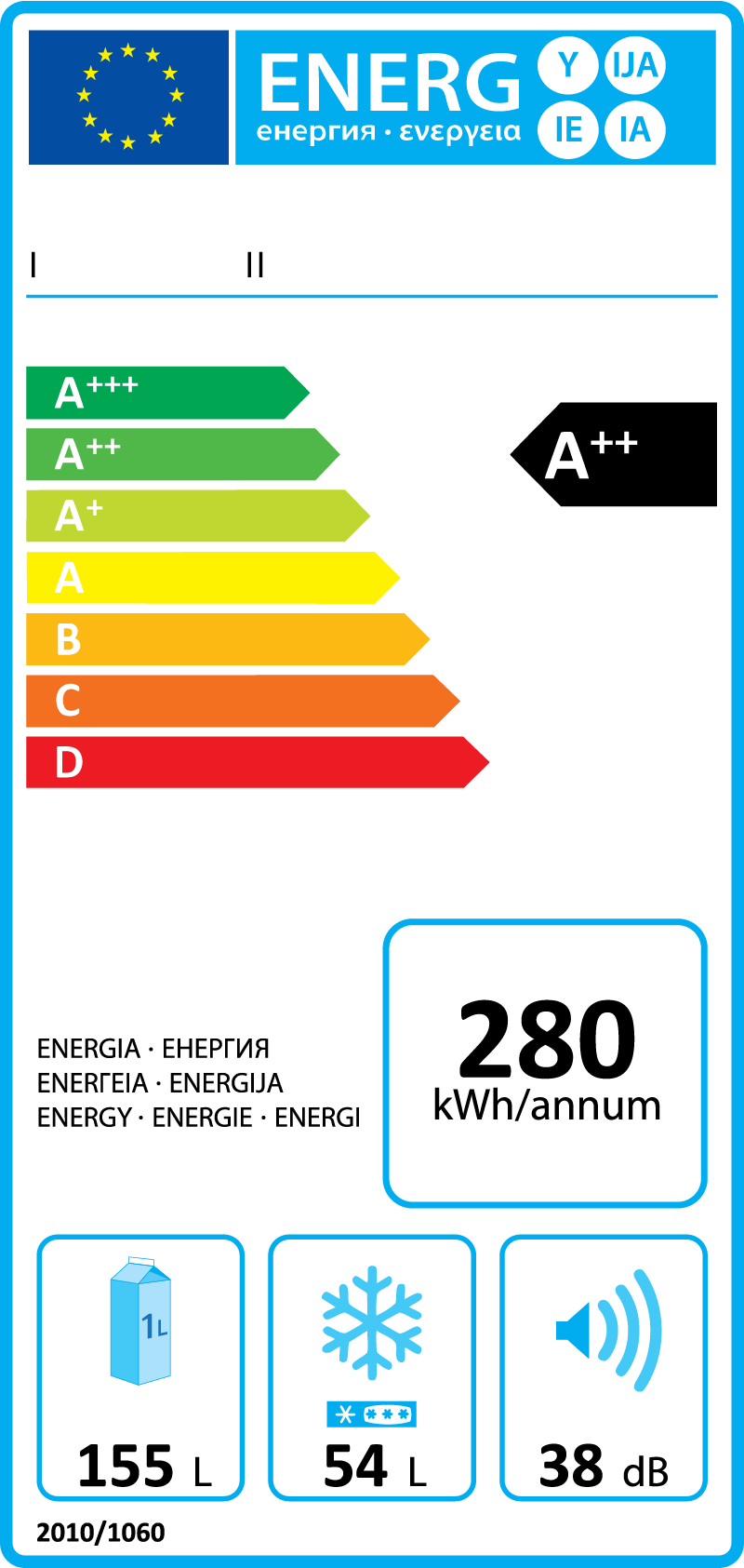Example EU energy label for a refrigerator