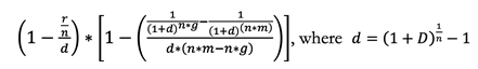 An equation calculating the grant element of a loan.