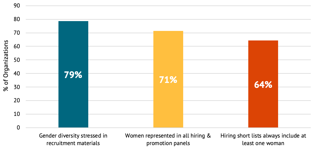 A figure showing recruitment, hiring, and promotion among DFIs