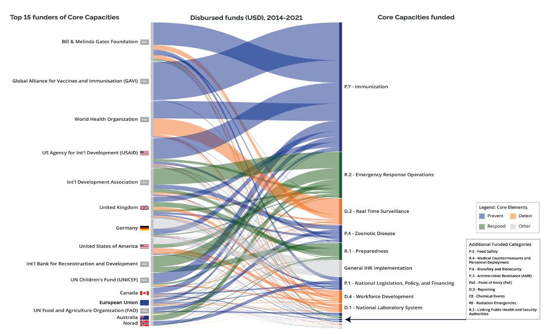 Sankey chart showing the largest donors and what they fund (immunization is the biggest category)