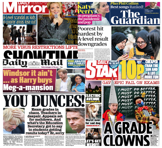 A selection of UK newspaper front pages about the exam debacle