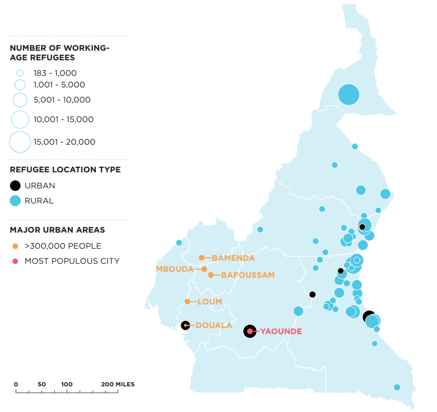 Map of Cameroon urban areas and the location of refugees relative to them