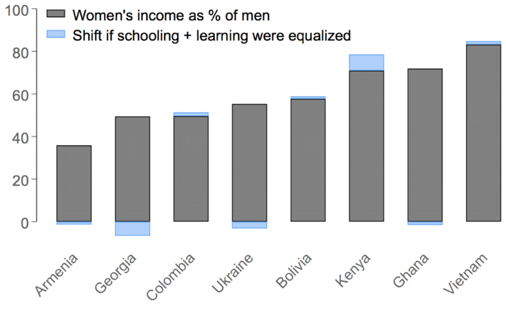 Chart showing the gender pay gap wouldn't be equalized if educational levels were equalized