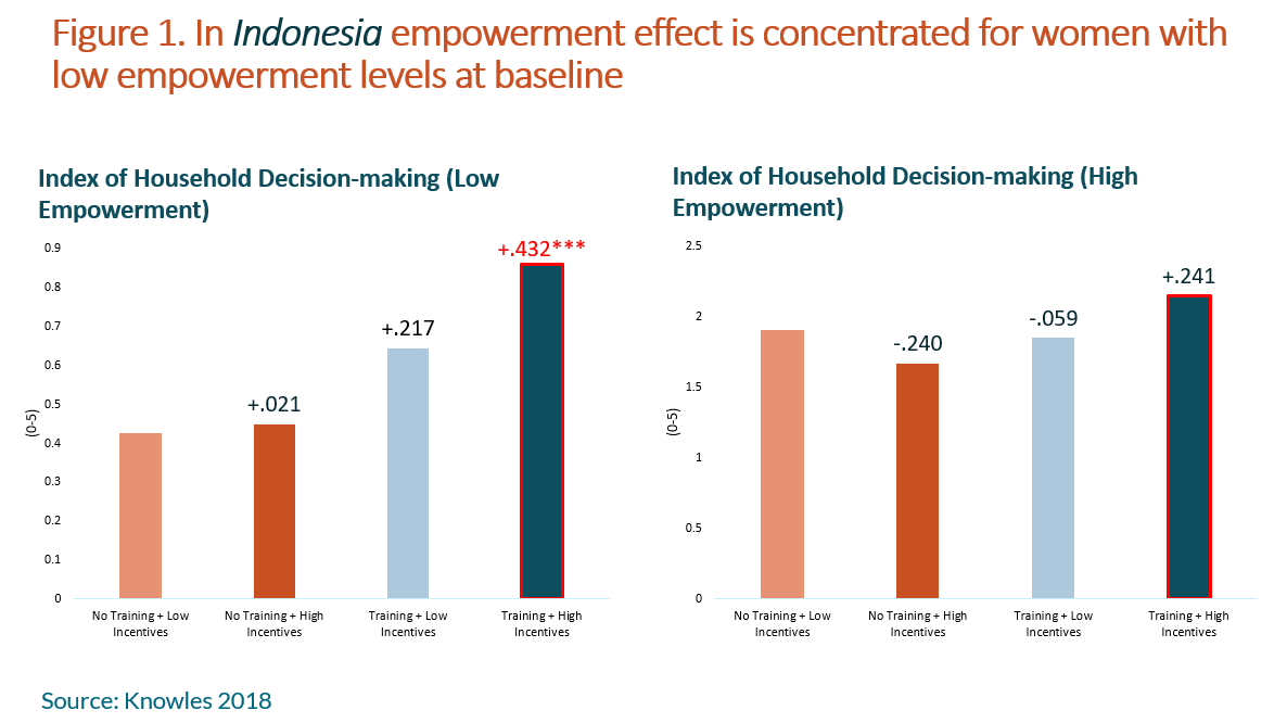 Graph showing index of household decision-making, high empowerment vs. low empowerment