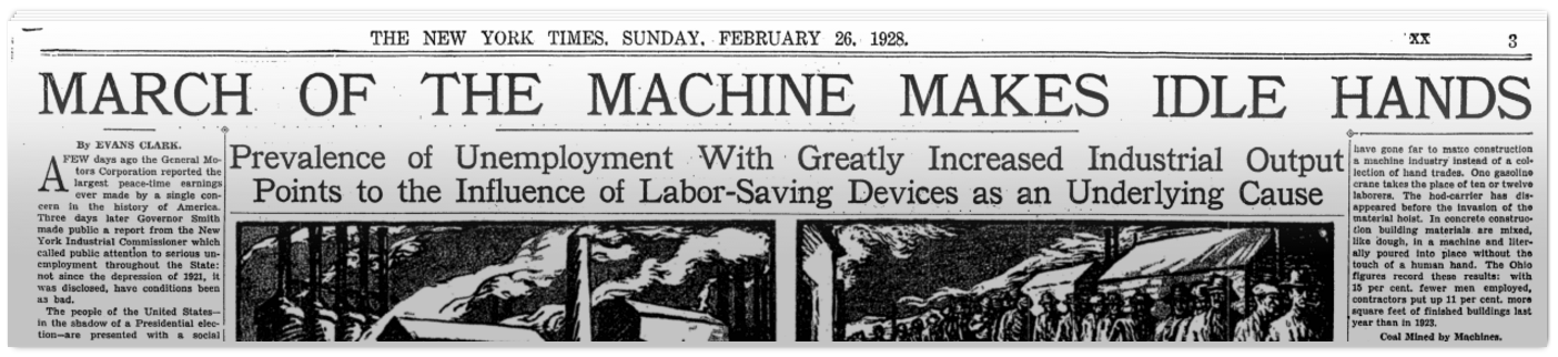 Image of the headline of the New York Times on February 26, 1928, saying automation will destroy jobs
