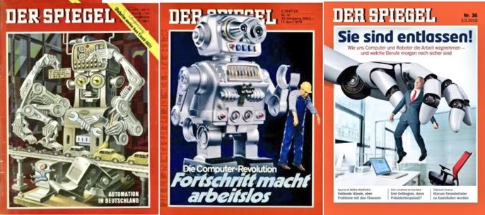 Collection of covers from Germany's Der Spiegel talking about automation as a threat to jobs.