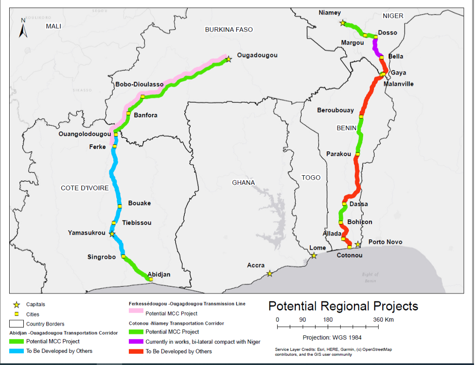 A map showing potential MCC regional impacts in West Africa