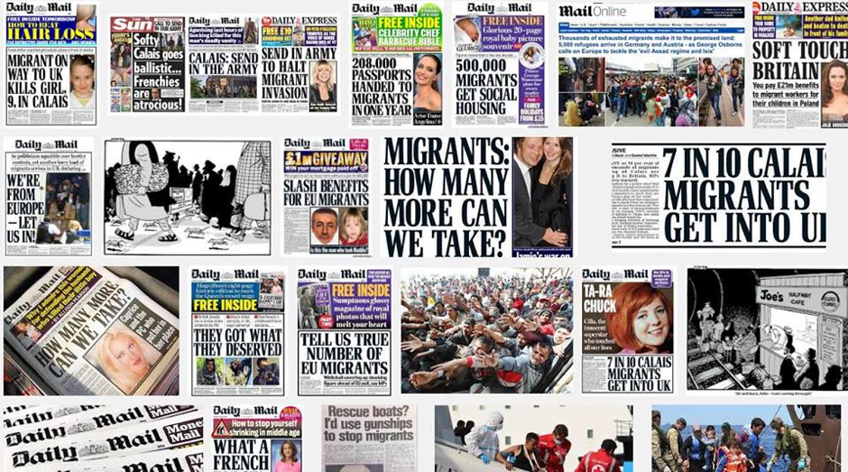 Tabloid headlines, for example: Migrant Invasion, How Many More Can We Take, 500 Migrants Get Social Housing