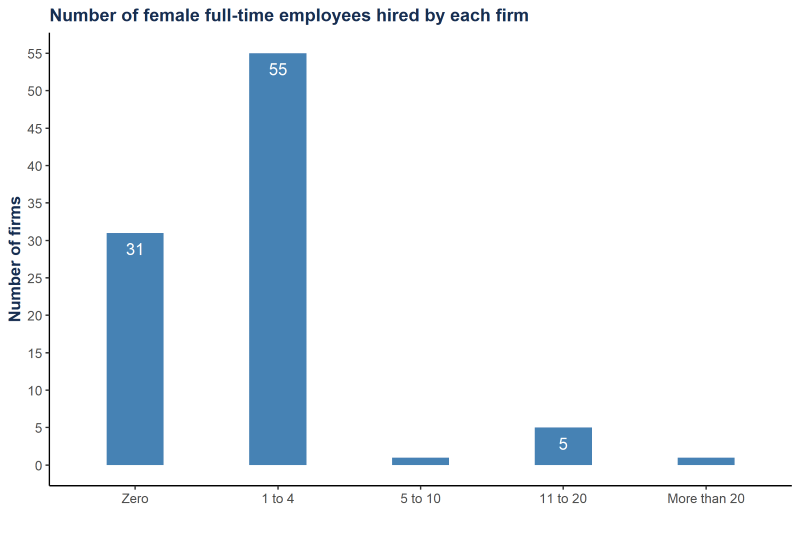 A figure showing the number of female full-time employees hired by each Nigerian tech firm surveyed