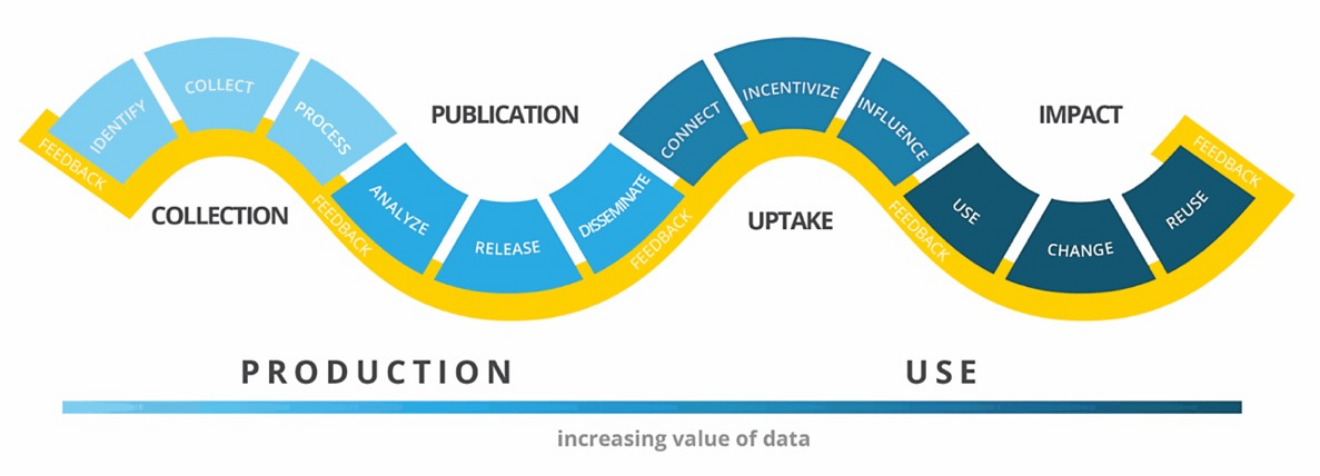 Chart showing the process of data production and use