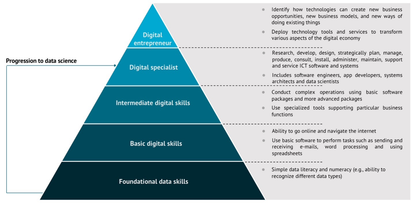 Pyramid with basic data skills like numeracy at the bottom, and data science at the top