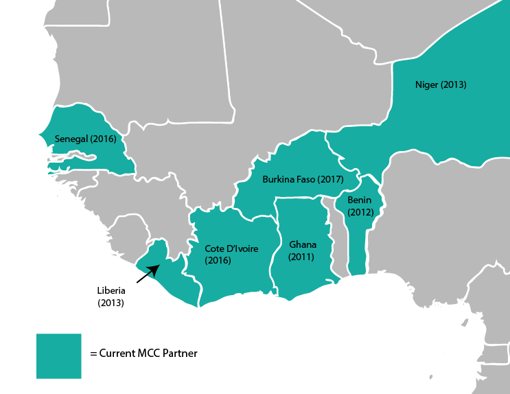 Map of current MCC partner countries in West Africa with the year compact development began