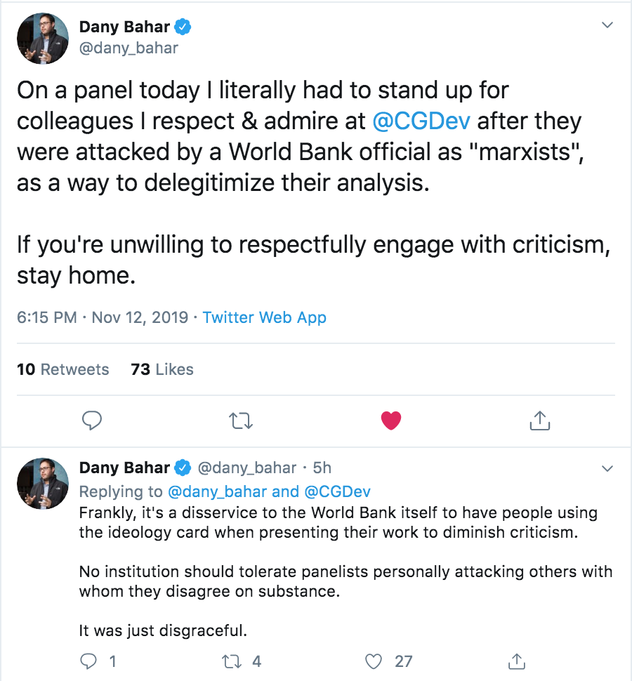 Two tweets from Dany Bahar about the comments on the doing business panel.