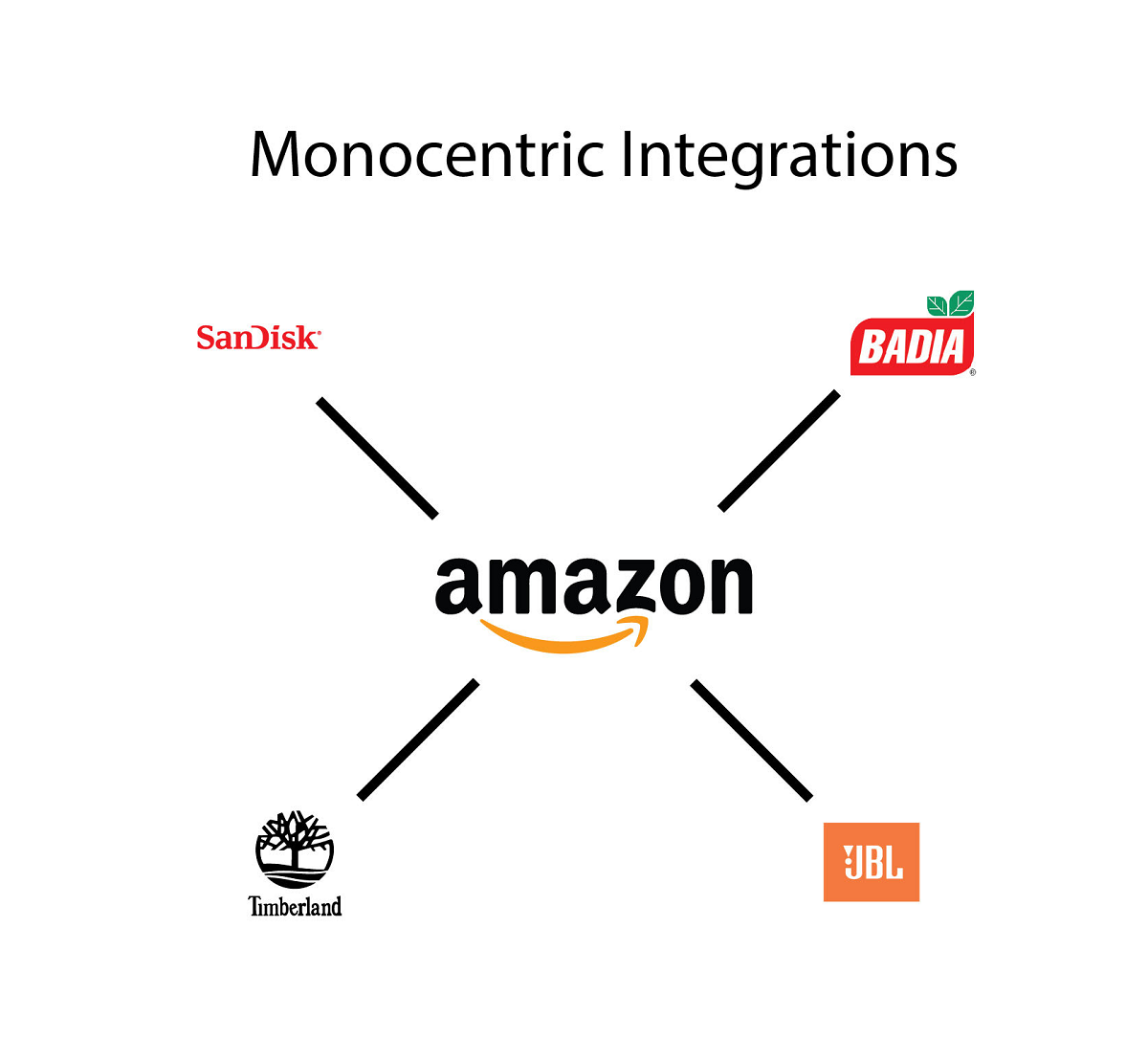 SanDisk, Badia, Timberland, and JBL all connected separately to Amazon