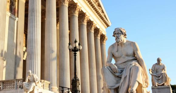 Statue of Thucydides outside the Austrian Parliament. Adobe Stock.
