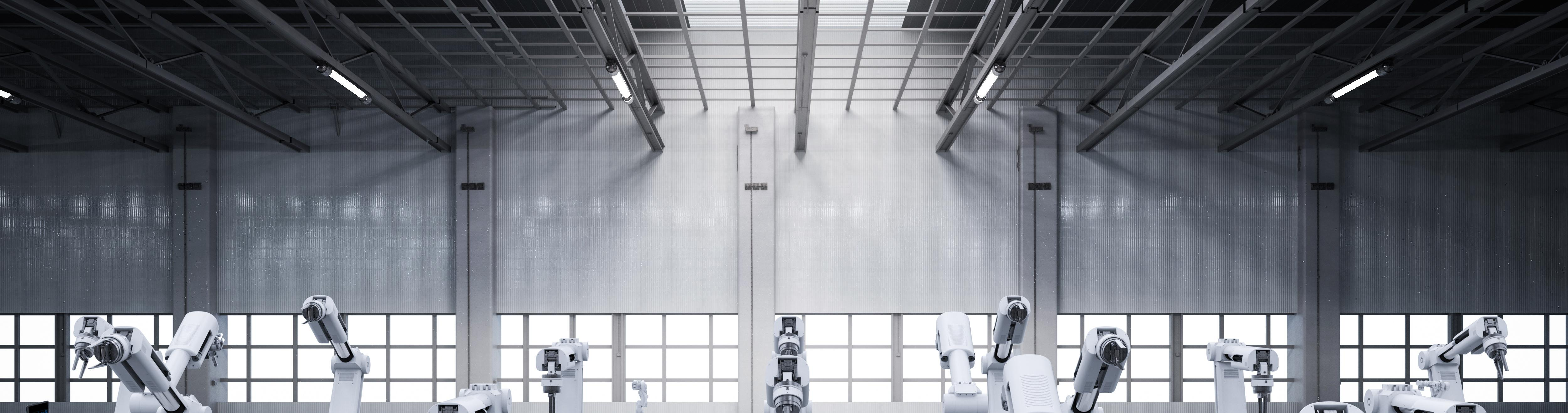 Robot arms with conveyor, banner image
