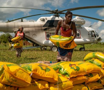 Aid being unloaded in Mozambique. Photo from US Army, Tech. Sgt. Thomas Grimes