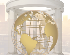 Graphic of a globe overlaid on a rotunda