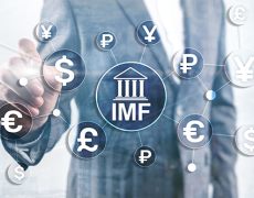 An image of the IMF at the center of many different currencies, indicating the flow of funds from the IMF.