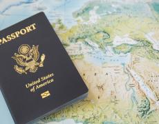 A passport on a world map