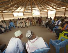 UN Women social workers advocate against child marriage during a meeting in the UN Women multipurpose centre's Social Cohesion space in the Gado refugee camp in Central African Republic (CAR).